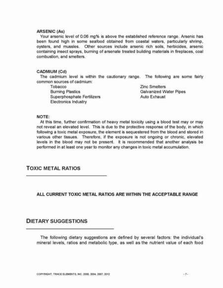 toxic metal ratios
